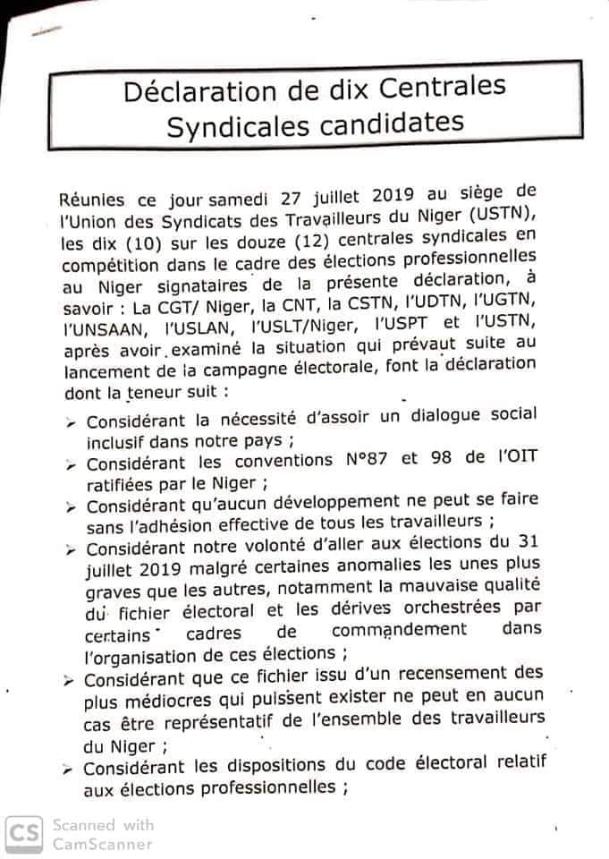 declaration centrale syndicale syndicat 27 07 2019