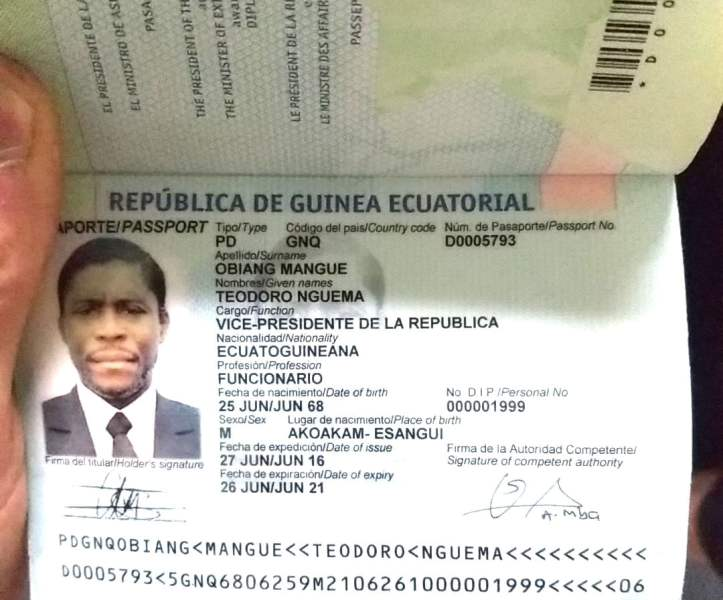 passeport Teodorin Obiang